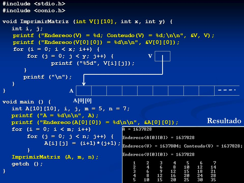 #include #include void ImprimirMatriz (int V[][10], int x, int y) { int i, j; int i, j; printf (