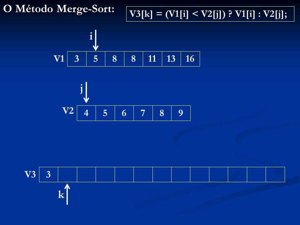O Método Merge-Sort: 33588111316456789 V1 V2 V3 i j k V3[k] = (V1[i] < V2[j]) V1[i] : V2[j];