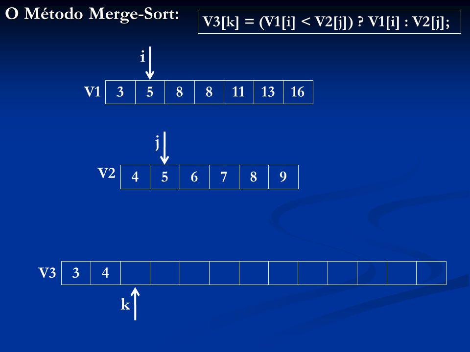O Método Merge-Sort: 343588111316456789 V1 V2 V3 i j k V3[k] = (V1[i] < V2[j]) V1[i] : V2[j];