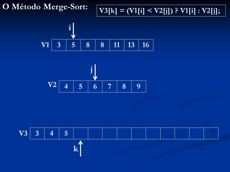O Método Merge-Sort: 3453588111316456789 V1 V2 V3 i j k V3[k] = (V1[i] < V2[j]) V1[i] : V2[j];