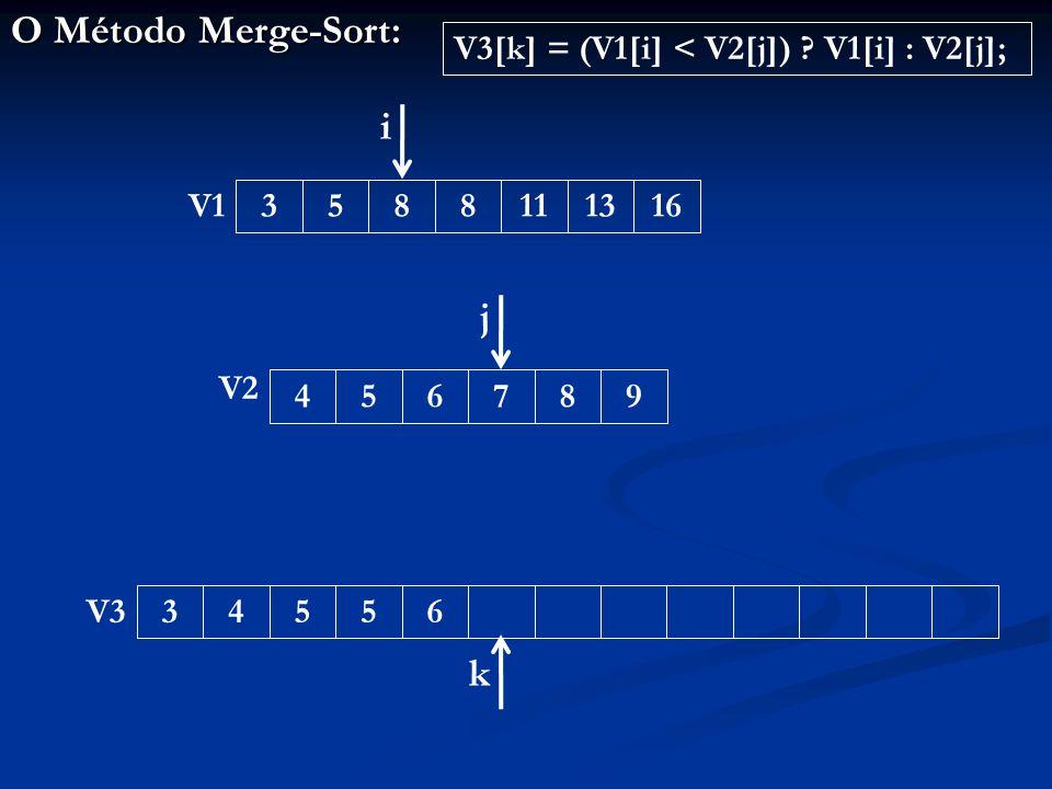O Método Merge-Sort: 345563588111316456789 V1 V2 V3 i j k V3[k] = (V1[i] < V2[j]) V1[i] : V2[j];
