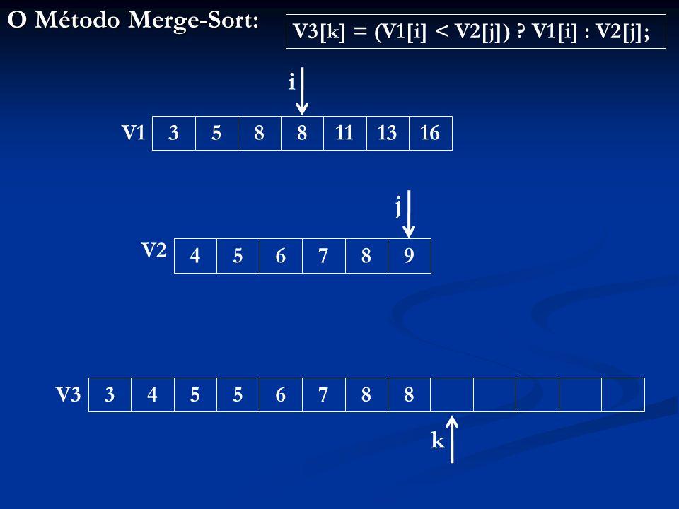 O Método Merge-Sort: 345567883588111316456789 V1 V2 V3 i j k V3[k] = (V1[i] < V2[j]) .