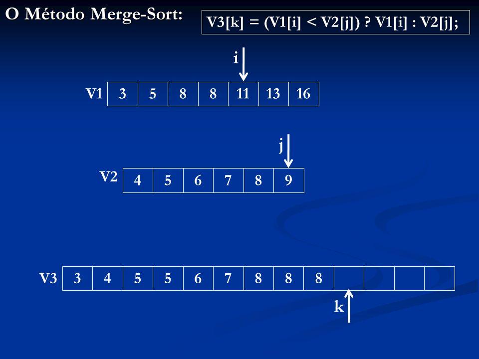 O Método Merge-Sort: 3455678883588111316456789 V1 V2 V3 i j k V3[k] = (V1[i] < V2[j]) .