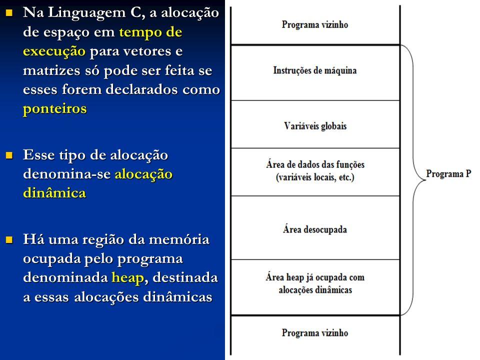 Na Linguagem C, a alocação de espaço em tempo de execução para vetores e matrizes só pode ser feita se esses forem declarados como ponteiros Na Linguagem C, a alocação de espaço em tempo de execução para vetores e matrizes só pode ser feita se esses forem declarados como ponteiros Esse tipo de alocação denomina-se alocação dinâmica Esse tipo de alocação denomina-se alocação dinâmica Há uma região da memória ocupada pelo programa denominada heap, destinada a essas alocações dinâmicas Há uma região da memória ocupada pelo programa denominada heap, destinada a essas alocações dinâmicas