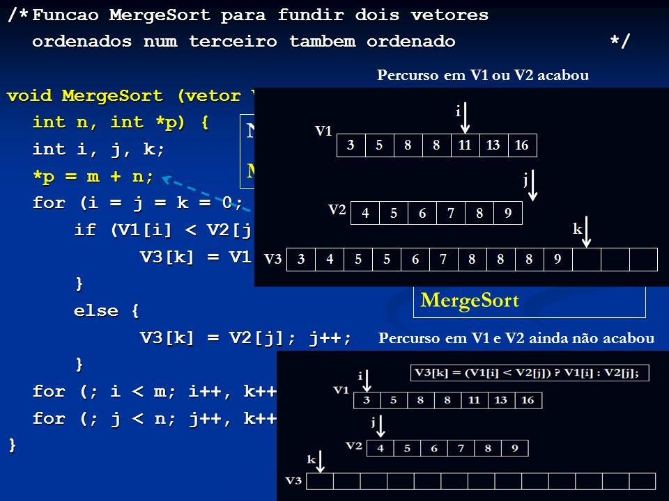 /*Funcao MergeSort para fundir dois vetores ordenados num terceiro tambem ordenado*/ void MergeSort (vetor V1, vetor V2, vetor V3, int m, int n, int *p) { int i, j, k; *p = m + n; *p = m + n; for (i = j = k = 0; i < m && j < n; k++) if (V1[i] < V2[j]) { V3[k] = V1[i]; i++; } else { V3[k] = V2[j]; j++; } for (; i < m; i++, k++) V3[k] = V1[i]; for (; j < n; j++, k++) V3[k] = V2[j]; } Na função main: MergeSort (V1, V2, V3, m, n, &p); O tamanho do vetor final é calculado pela MergeSort Percurso em V1 e V2 ainda não acabou Percurso em V1 ou V2 acabou