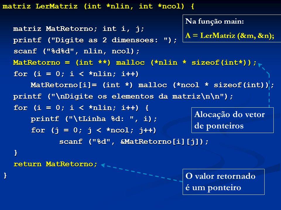 matriz LerMatriz (int *nlin, int *ncol) { matriz MatRetorno; int i, j; printf ( Digite as 2 dimensoes: ); printf ( Digite as 2 dimensoes: ); scanf ( %d%d , nlin, ncol); MatRetorno = (int **) malloc (*nlin * sizeof(int*)); for (i = 0; i < *nlin; i++) MatRetorno[i]= (int *) malloc (*ncol * sizeof(int)); printf ( \nDigite os elementos da matriz\n\n ); for (i = 0; i < *nlin; i++) { printf ( \tLinha %d: , i); for (j = 0; j < *ncol; j++) scanf ( %d , &MatRetorno[i][j]); } return MatRetorno; return MatRetorno;} Na função main: A = LerMatriz (&m, &n); Alocação do vetor de ponteiros O valor retornado é um ponteiro