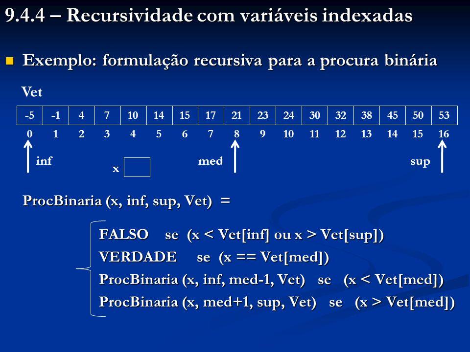 9.4.4 – Recursividade com variáveis indexadas Exemplo: formulação recursiva para a procura binária Exemplo: formulação recursiva para a procura binária ProcBinaria (x, inf, sup, Vet) = FALSO se (x Vet[sup]) VERDADE se (x == Vet[med]) ProcBinaria (x, inf, med-1, Vet) se (x < Vet[med]) ProcBinaria (x, med+1, sup, Vet) se (x > Vet[med]) -5 0 1 4 2 7 3 10 4 14 5 15 6 17 7 21 8 23 9 24 10 30 11 32 12 38 13 45 14 50 15 53 16 Vet med inf sup x