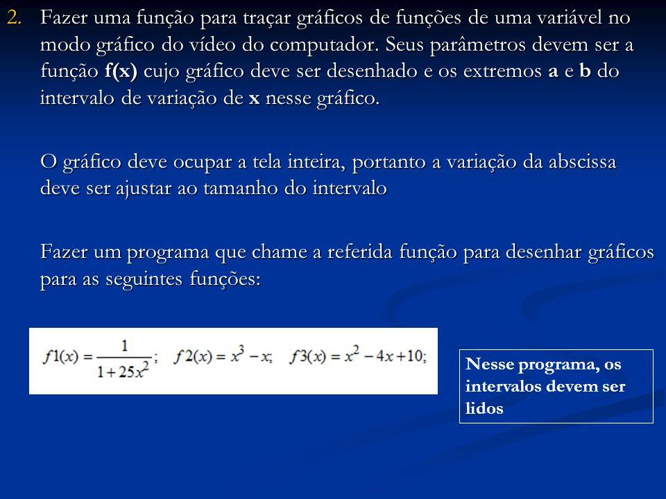 2.Fazer uma função para traçar gráficos de funções de uma variável no modo gráfico do vídeo do computador.