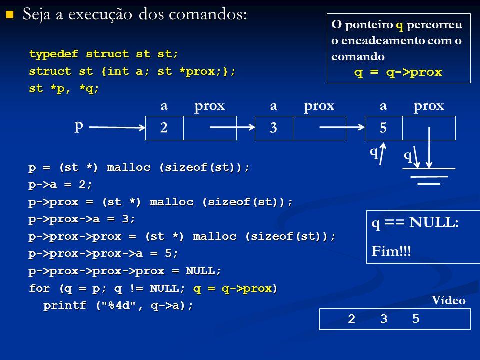 Seja a execução dos comandos: Seja a execução dos comandos: typedef struct st st; struct st {int a; st *prox;}; st *p, *q; p = (st *) malloc (sizeof(st)); p->a = 2; p->prox = (st *) malloc (sizeof(st)); p->prox->a = 3; p->prox->prox = (st *) malloc (sizeof(st)); p->prox->prox->a = 5; p->prox->prox->prox = NULL; for (q = p; q != NULL; q = q->prox) printf ( %4d , q->a); p aprox 2 a 3 a 5 2 3 5 Vídeo q q q == NULL: Fim!!.