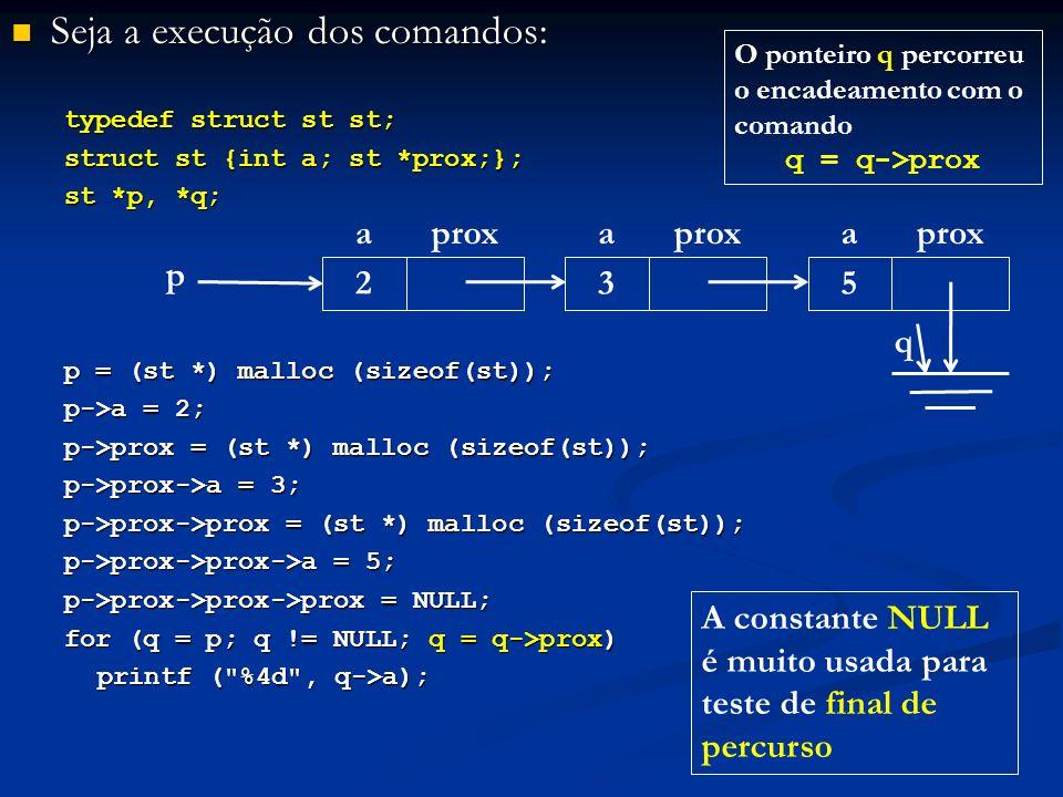 Seja a execução dos comandos: Seja a execução dos comandos: typedef struct st st; struct st {int a; st *prox;}; st *p, *q; p = (st *) malloc (sizeof(st)); p->a = 2; p->prox = (st *) malloc (sizeof(st)); p->prox->a = 3; p->prox->prox = (st *) malloc (sizeof(st)); p->prox->prox->a = 5; p->prox->prox->prox = NULL; for (q = p; q != NULL; q = q->prox) printf ( %4d , q->a); p aprox 2 a 3 a 5 q A constante NULL é muito usada para teste de final de percurso O ponteiro q percorreu o encadeamento com o comando q = q->prox