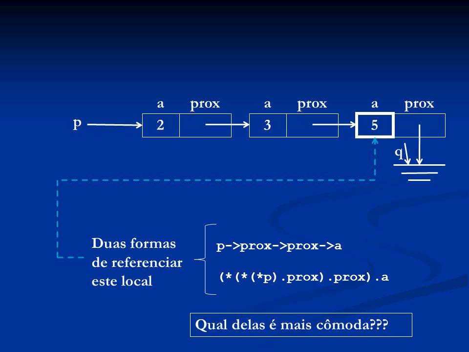 p aprox 2 a 3 a 5 q Duas formas de referenciar este local p->prox->prox->a (*(*(*p).prox).prox).a Qual delas é mais cômoda