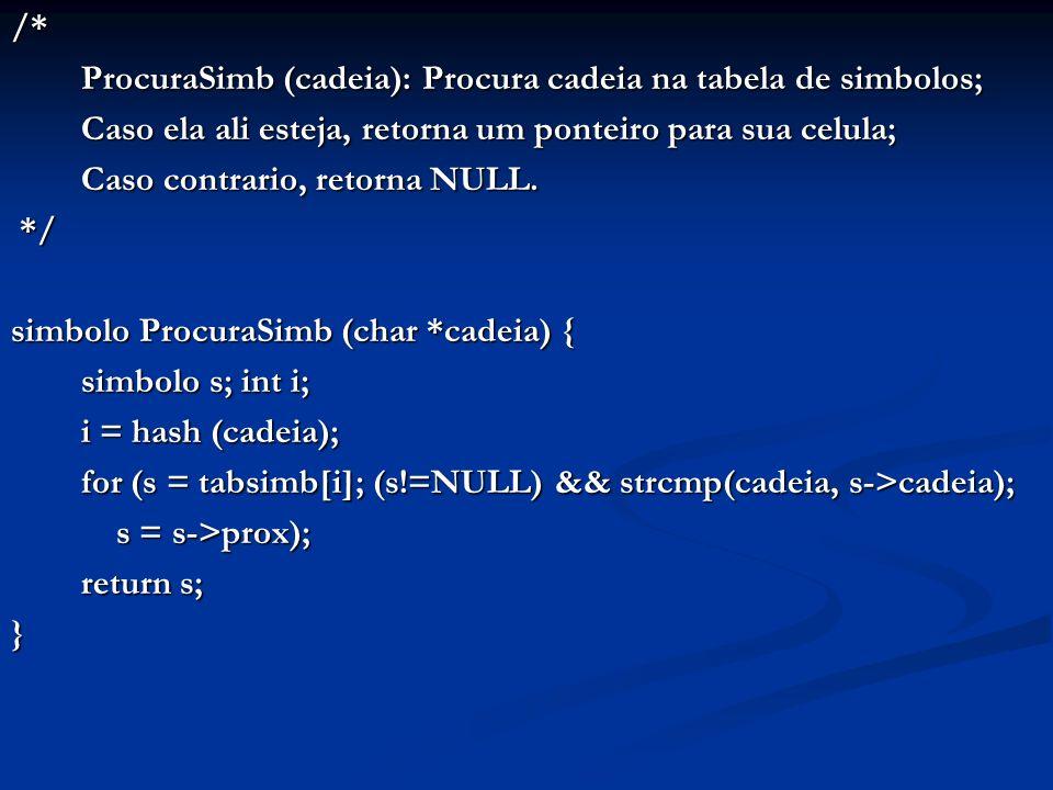 /* ProcuraSimb (cadeia): Procura cadeia na tabela de simbolos; Caso ela ali esteja, retorna um ponteiro para sua celula; Caso contrario, retorna NULL.