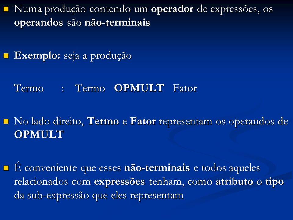 Numa produção contendo um operador de expressões, os operandos são não-terminais Numa produção contendo um operador de expressões, os operandos são não-terminais Exemplo: seja a produção Exemplo: seja a produção Termo : Termo OPMULT Fator No lado direito, Termo e Fator representam os operandos de OPMULT No lado direito, Termo e Fator representam os operandos de OPMULT É conveniente que esses não-terminais e todos aqueles relacionados com expressões tenham, como atributo o tipo da sub-expressão que eles representam É conveniente que esses não-terminais e todos aqueles relacionados com expressões tenham, como atributo o tipo da sub-expressão que eles representam