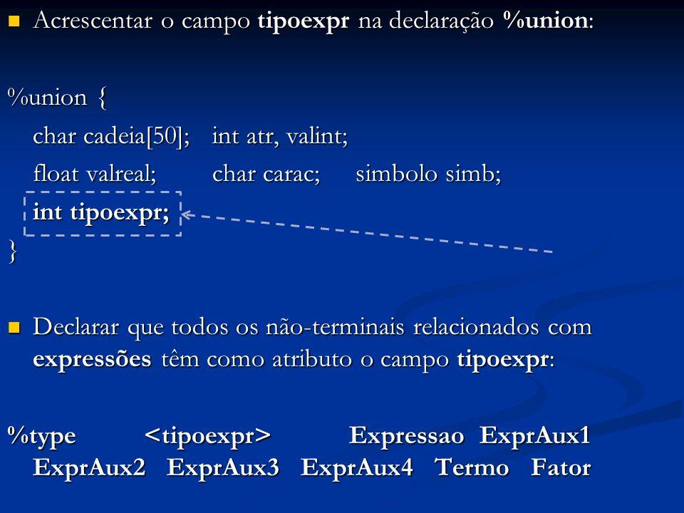 Acrescentar o campo tipoexpr na declaração %union: Acrescentar o campo tipoexpr na declaração %union: %union { char cadeia[50];int atr, valint; float valreal;char carac; simbolo simb; int tipoexpr; } Declarar que todos os não-terminais relacionados com expressões têm como atributo o campo tipoexpr: Declarar que todos os não-terminais relacionados com expressões têm como atributo o campo tipoexpr: %type Expressao ExprAux1 ExprAux2 ExprAux3 ExprAux4 Termo Fator