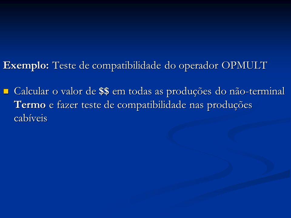 Exemplo: Teste de compatibilidade do operador OPMULT Calcular o valor de $$ em todas as produções do não-terminal Termo e fazer teste de compatibilidade nas produções cabíveis Calcular o valor de $$ em todas as produções do não-terminal Termo e fazer teste de compatibilidade nas produções cabíveis