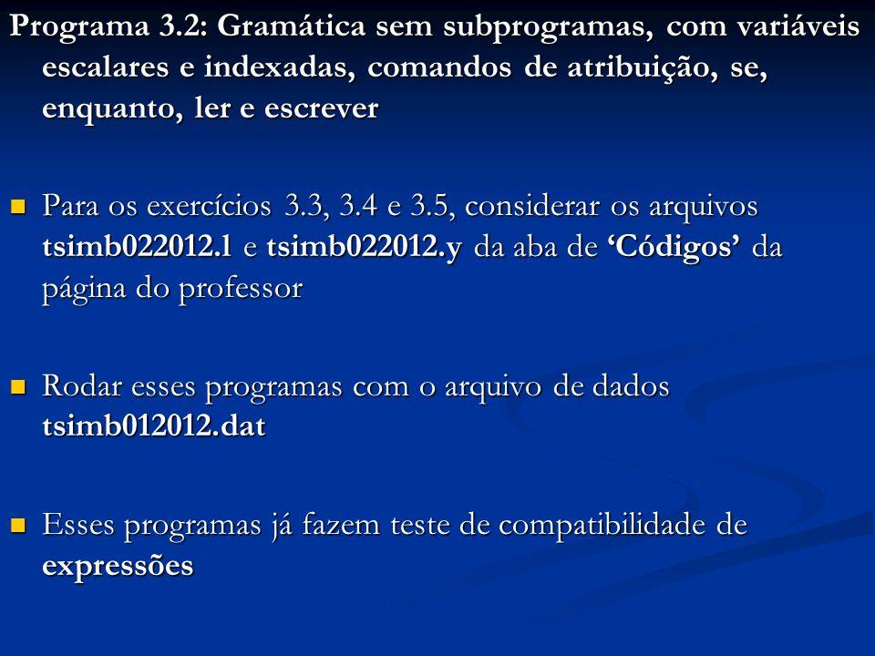 Programa 3.2: Gramática sem subprogramas, com variáveis escalares e indexadas, comandos de atribuição, se, enquanto, ler e escrever Para os exercícios 3.3, 3.4 e 3.5, considerar os arquivos tsimb022012.l e tsimb022012.y da aba de Códigos da página do professor Para os exercícios 3.3, 3.4 e 3.5, considerar os arquivos tsimb022012.l e tsimb022012.y da aba de Códigos da página do professor Rodar esses programas com o arquivo de dados tsimb012012.dat Rodar esses programas com o arquivo de dados tsimb012012.dat Esses programas já fazem teste de compatibilidade de expressões Esses programas já fazem teste de compatibilidade de expressões
