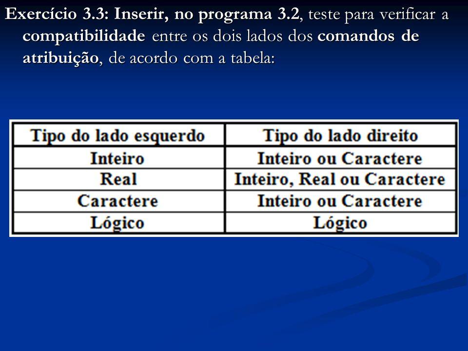 Exercício 3.3: Inserir, no programa 3.2, teste para verificar a compatibilidade entre os dois lados dos comandos de atribuição, de acordo com a tabela: