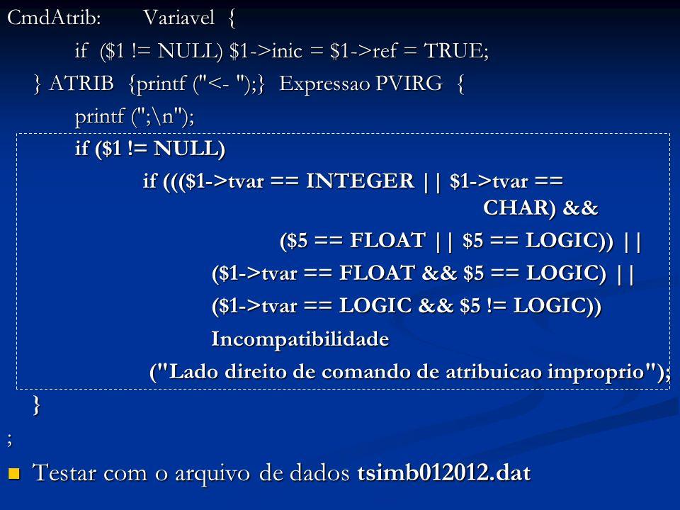 CmdAtrib:Variavel { if ($1 != NULL) $1->inic = $1->ref = TRUE; } ATRIB {printf ( <- );} Expressao PVIRG { printf ( ;\n ); printf ( ;\n ); if ($1 != NULL) if ((($1->tvar == INTEGER || $1->tvar == CHAR) && ($5 == FLOAT || $5 == LOGIC)) || ($1->tvar == FLOAT && $5 == LOGIC) || ($1->tvar == LOGIC && $5 != LOGIC)) Incompatibilidade ( Lado direito de comando de atribuicao improprio ); ( Lado direito de comando de atribuicao improprio );}; Testar com o arquivo de dados tsimb012012.dat Testar com o arquivo de dados tsimb012012.dat