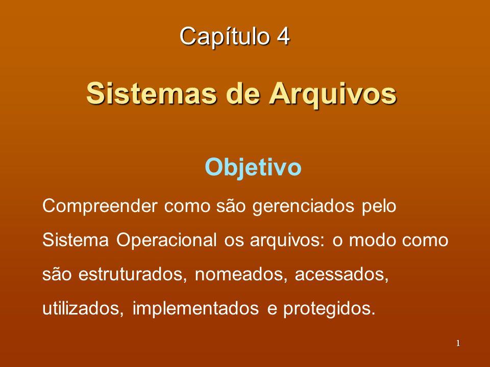 2 Sistemas de Arquivos Capítulo 4 Índice 4.1 Arquivos – como são usados e propriedades 4.2 Diretórios – como são usados e propriedades 4.3 Implementação do sistema de arquivos 4.4 Gerenciamento e otimização dos sistemas de arquivo 4.5 Exemplos de sistemas de arquivos