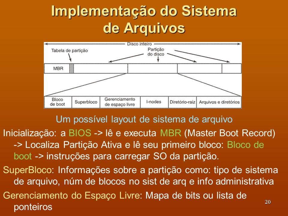 21 Esquema do Sistema de Arquivos Um possível layout de sistema de arquivo i-nodes: Arranjo de estrutura de dados, um por arquivo, que diz tudo sobre o arquivo Diretório Raíz: topo da árvore do sistema de arquivos.