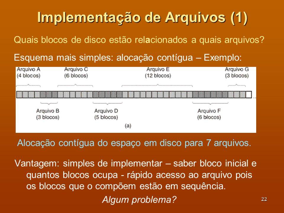 23 Implementação de Arquivos (2) Estado do disco depois dos arquivos D e F terem sido removidos Problema: com o tempo acontece a fragmentação do disco – mesmo havendo espaço um arquivo pode não caber sequencialmente numa lacuna.