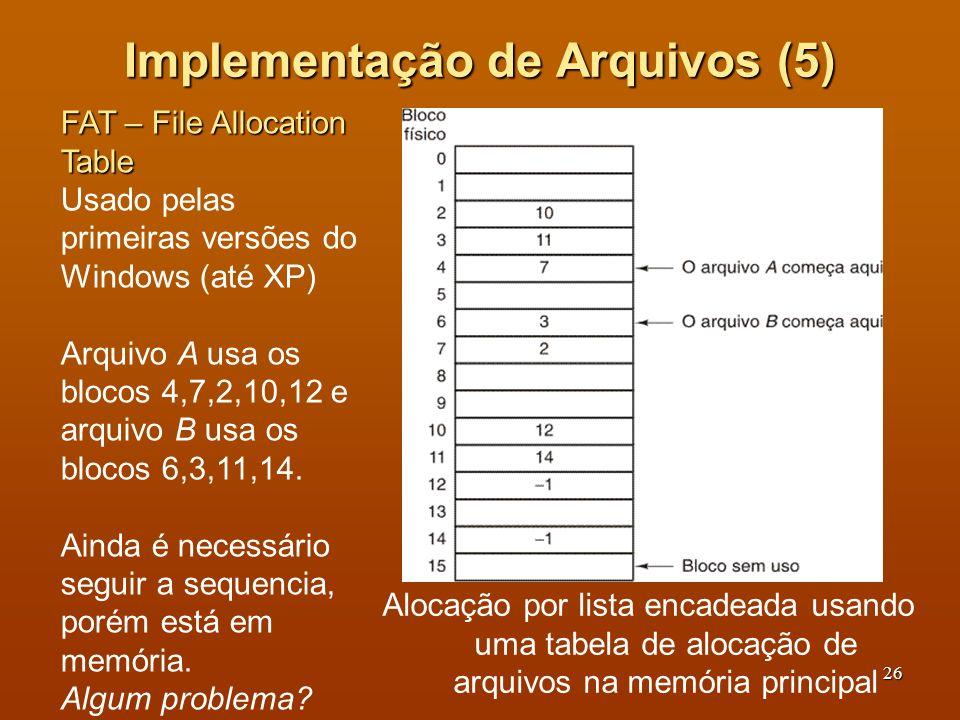 27 Implementação de Arquivos (6) Problema da FAT: tabela proporcional ao tamanho do disco, em memória o tempo todo Se disco de 200GB, com blocos de 1KB, 200 milhões de entradas.