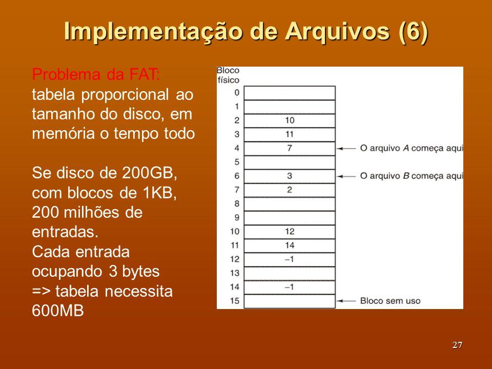 28 Implementação de Arquivos (7) Um exemplo de i-node Alternativa => i-node.