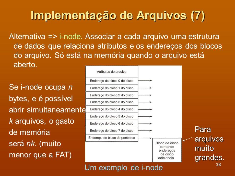29 Implementação de Diretórios (1) (a) Um diretório simples (Windows) - entradas de tamanho fixo, contendo nome, atributos e indicação de onde os blocos estão no disco.