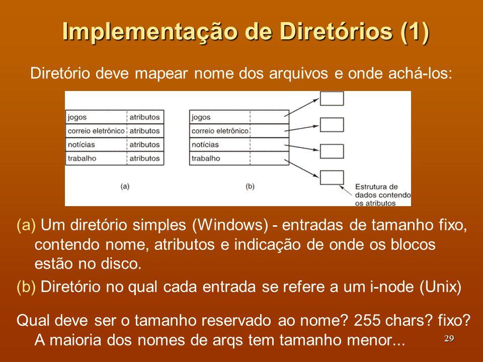 30 Implementação de Diretórios (2) Duas formas de tratar nomes longos de arquivos em um diretório (a) Em linha.