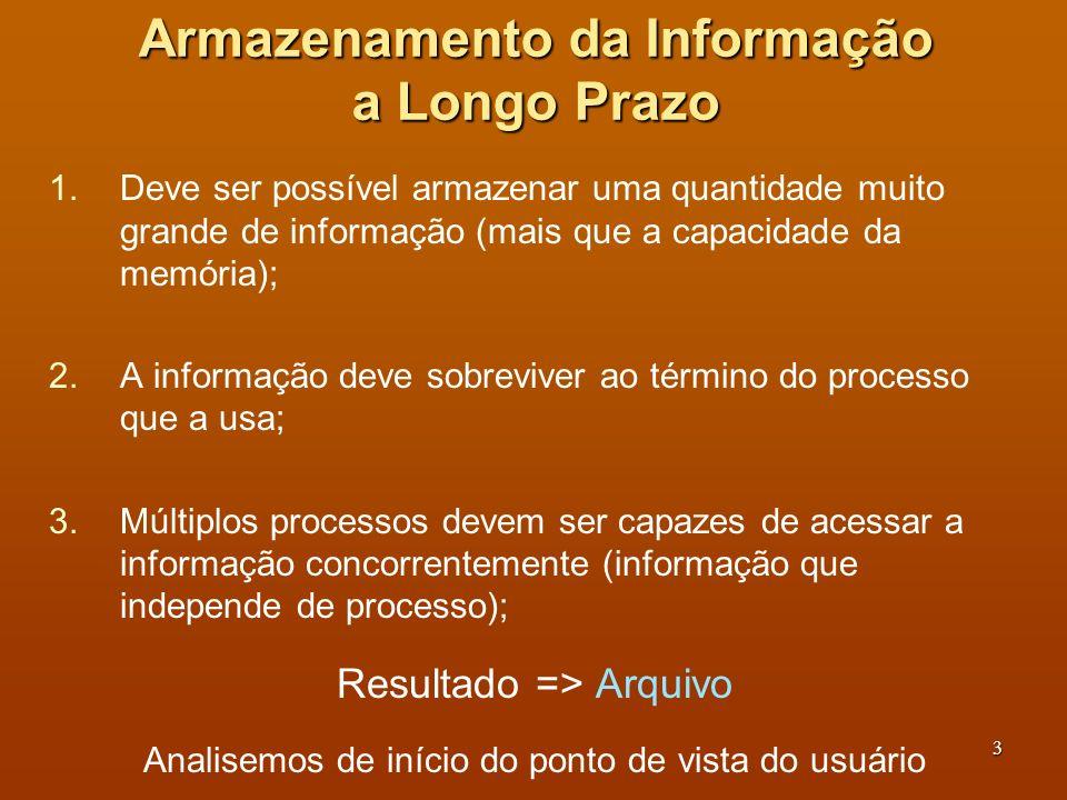 4 Nomeação de Arquivos (1) Arquivo: mecanismo de abstração para associar informações armazenadas.