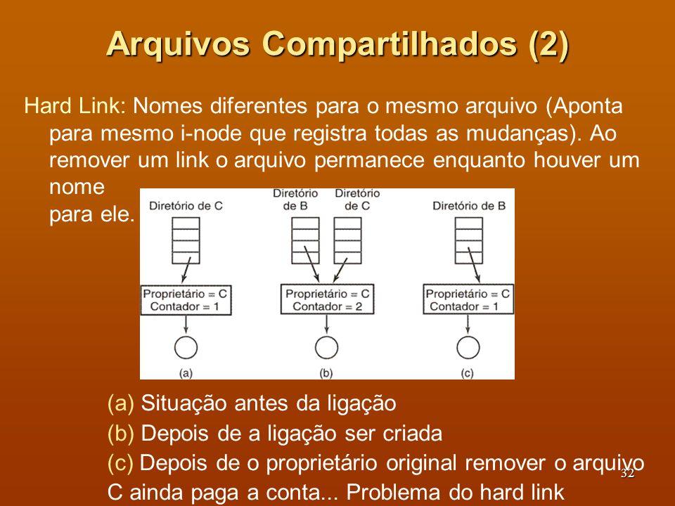 33 Arquivos Compartilhados (3) Links simbólicos permitem criar ligações para diretórios ou para arquivos em computadores remotos (NFS), o que não e possível com os hard links.