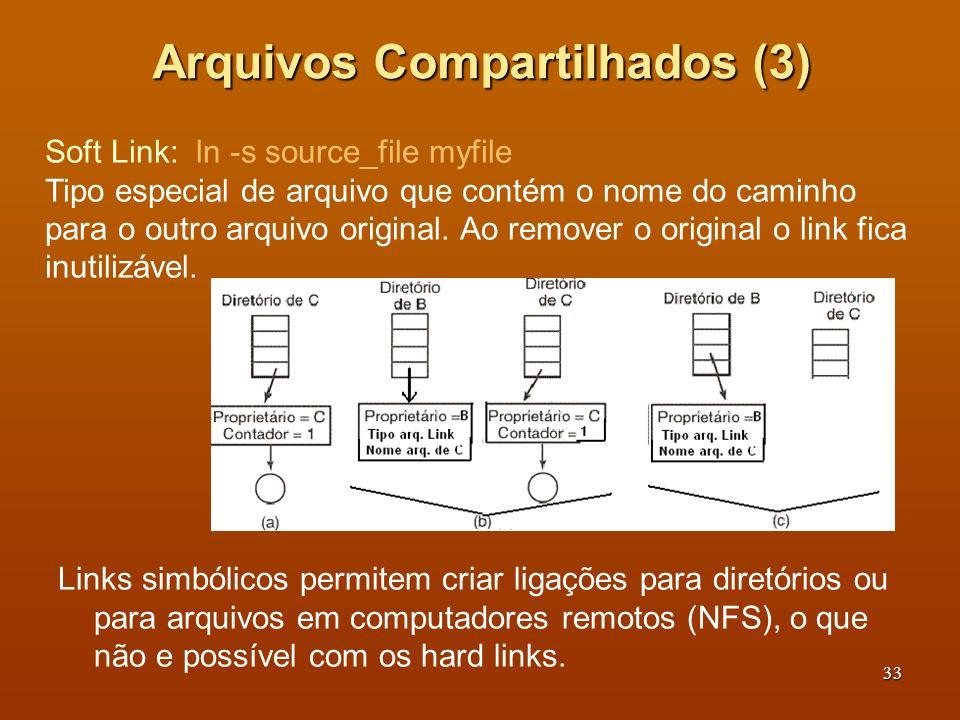 34 Sistema de Arquivos Virtuais (1) Windows identifica diferentes sistemas de arquivos com letras: C: (NTFS), D: (FAT32), E: (CD_ROM) sem tentar unificar sistemas heterogêneos.