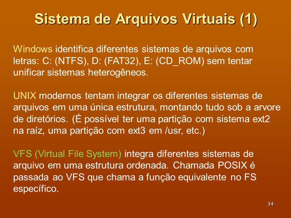 35 Sistema de Arquivos Virtuais A parte comum aos sistemas é colocada na camada superior, a parte específica na camada inferior.