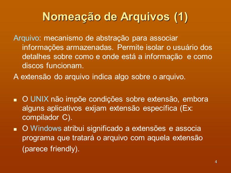5 Nomeação de Arquivos (2) Extensões típicas de arquivos Unix: Nomes servem mais para lembrar o usuário do que fornecer informações para o SO