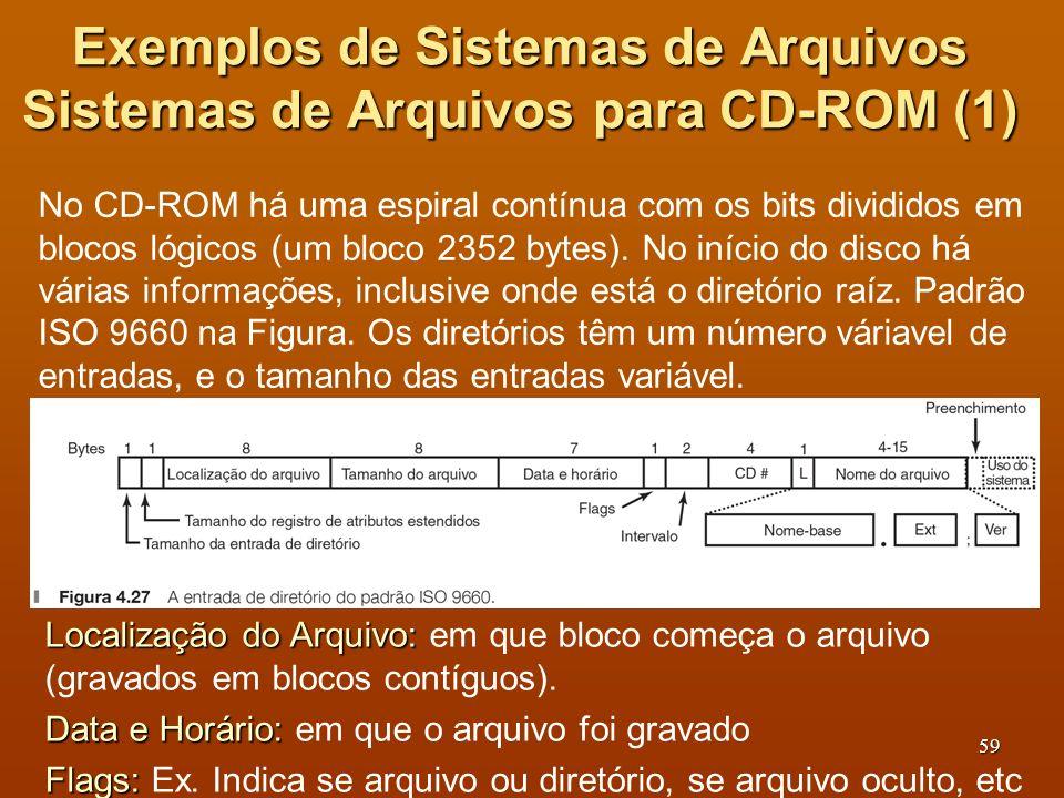 60 Exemplos de Sistemas de Arquivos Sistemas de Arquivos para CD-ROM (2) CD #: CD #: em que CD está o arquivo (pode ser outro do conjunto).