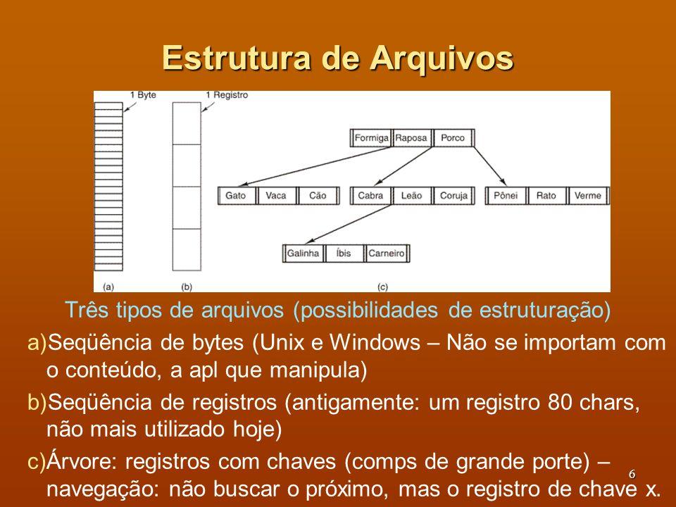 7 Tipos de Arquivos (1) Arquivos regulares: contém informação do usuário: ASCII – constituídos de linha de texto – editados e impressos tal como são; Binários – estrutura interna conhecida pelos programas que o usam.
