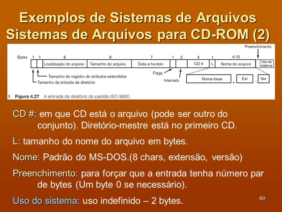 61 Exemplos de Sistemas de Arquivos Sistemas de Arquivos para CD-ROM (3) ISO 9660 é muito restritivo em relação ao tamanho dos nomes e alocação de arquivos contígua.
