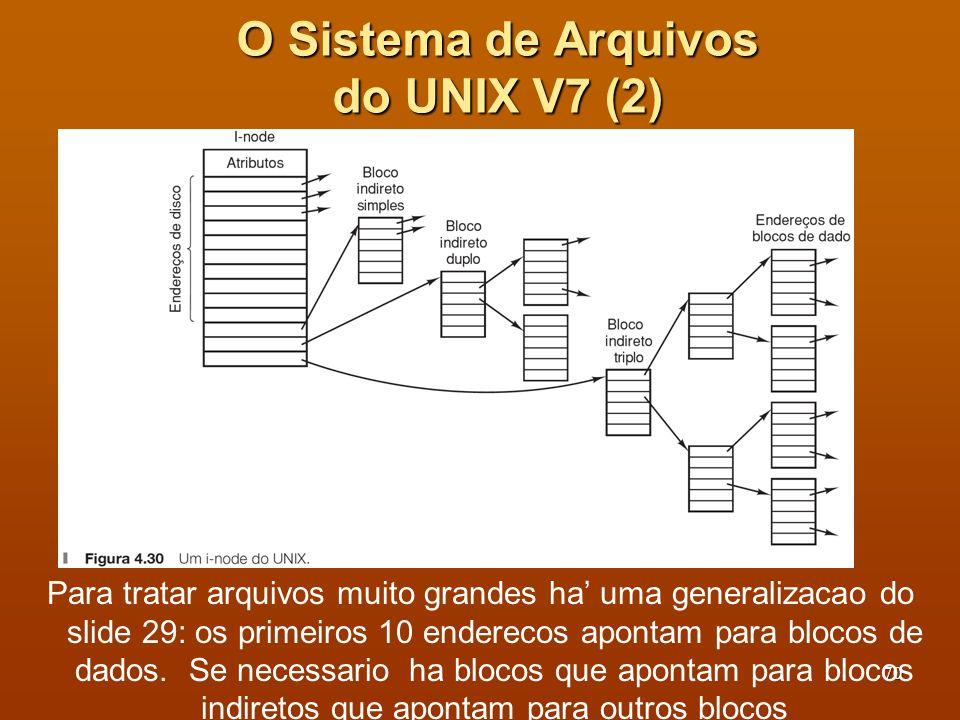 71 Localizar diretório raíz (i-node do raíz fica em local fixo) Lê diretório raíz, buscando usr e assim sucessivamente O Sistema de Arquivos do UNIX V7 (3) Número de i-node Número do bloco