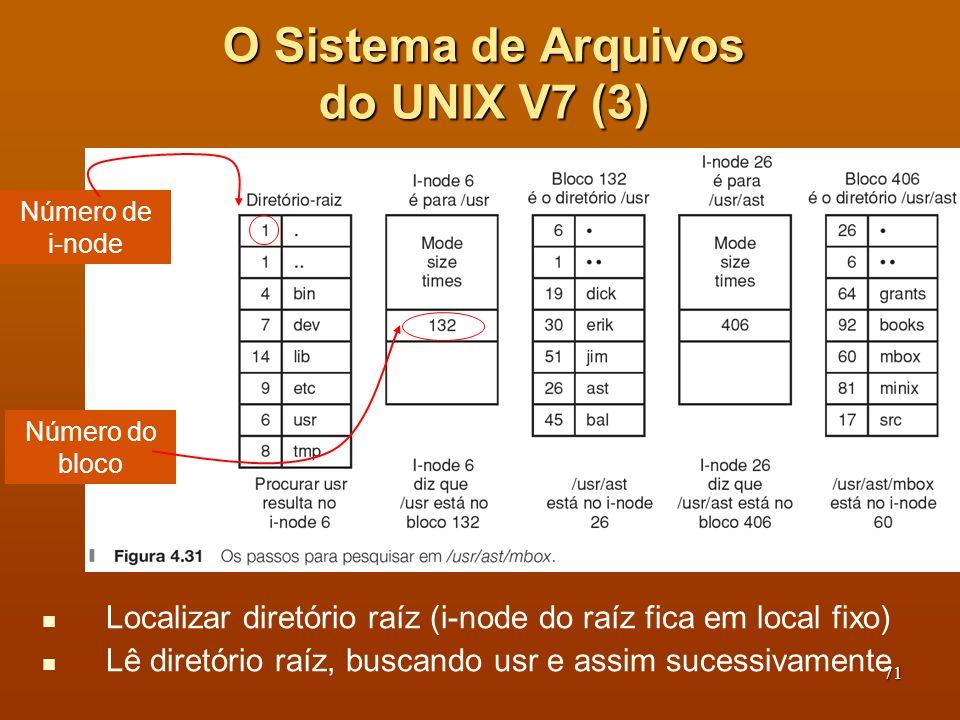 71 Localizar diretório raíz (i-node do raíz fica em local fixo) Lê diretório raíz, buscando usr e assim sucessivamente O Sistema de Arquivos do UNIX V