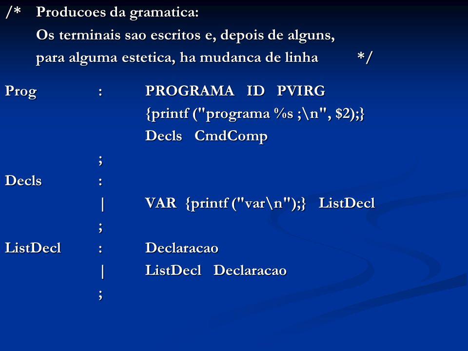 /* Producoes da gramatica: Os terminais sao escritos e, depois de alguns, para alguma estetica, ha mudanca de linha */ Prog:PROGRAMA ID PVIRG {printf ( programa %s ;\n , $2);} Decls CmdComp ; Decls : |VAR {printf ( var\n );} ListDecl ; ListDecl: Declaracao |ListDecl Declaracao ;
