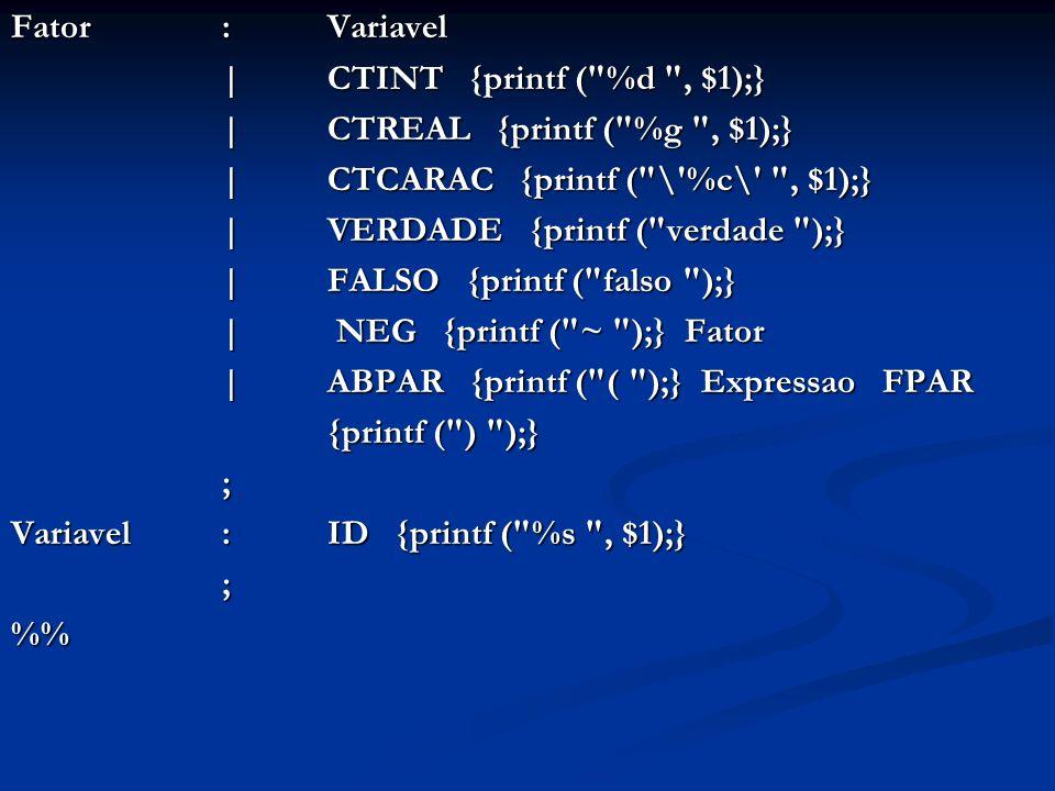 Fator: Variavel | CTINT {printf ( %d , $1);} | CTREAL {printf ( %g , $1);} | CTREAL {printf ( %g , $1);} | CTCARAC {printf ( \ %c\ , $1);} | CTCARAC {printf ( \ %c\ , $1);} | VERDADE {printf ( verdade );} | VERDADE {printf ( verdade );} | FALSO {printf ( falso );} | FALSO {printf ( falso );} | NEG {printf ( ~ );} Fator | NEG {printf ( ~ );} Fator | ABPAR {printf ( ( );} Expressao FPAR | ABPAR {printf ( ( );} Expressao FPAR {printf ( ) );} ; Variavel: ID {printf ( %s , $1);} ;%