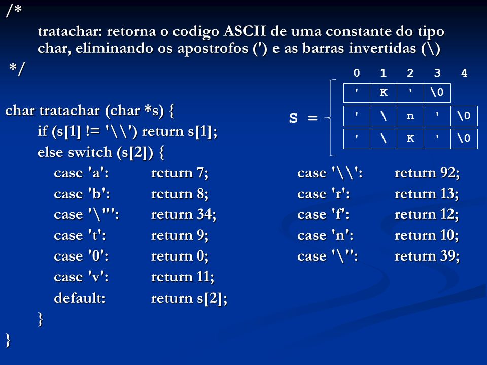 /* tratachar: retorna o codigo ASCII de uma constante do tipo char, eliminando os apostrofos ( ) e as barras invertidas (\) */ */ char tratachar (char *s) { if (s[1] != \\ ) return s[1]; else switch (s[2]) { case a : return 7;case \\ : return 92; case b : return 8;case r : return 13; case \ : return 34;case f : return 12; case t : return 9;case n : return 10; case 0 : return 0;case \ : return 39; case v : return 11; default:return s[2]; }} 01234 K \0 n \ K \ S =