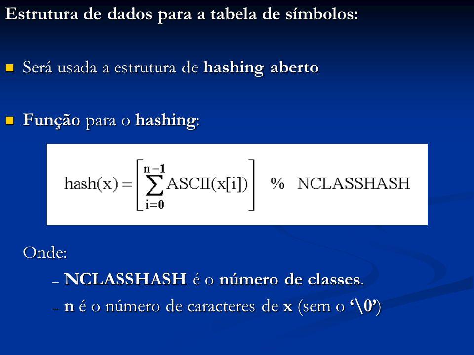 Estrutura de dados para a tabela de símbolos: Será usada a estrutura de hashing aberto Será usada a estrutura de hashing aberto Função para o hashing: Função para o hashing:Onde: – NCLASSHASH é o número de classes.