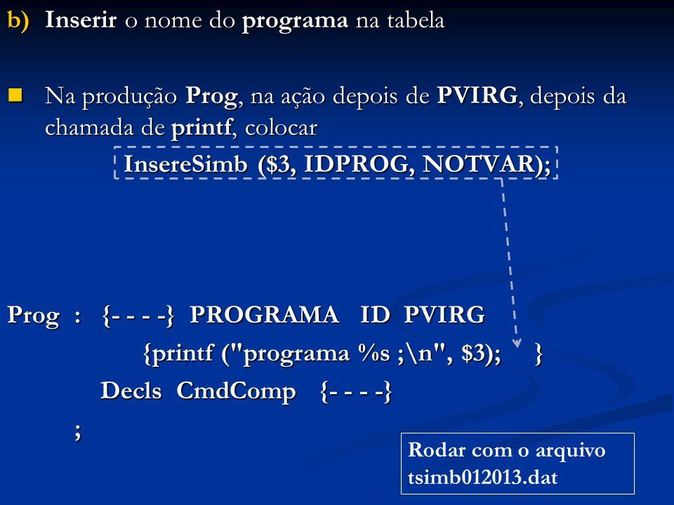 b)Inserir o nome do programa na tabela Na produção Prog, na ação depois de PVIRG, depois da chamada de printf, colocar Na produção Prog, na ação depois de PVIRG, depois da chamada de printf, colocar InsereSimb ($3, IDPROG, NOTVAR); Prog: {- - - -} PROGRAMA ID PVIRG {printf ( programa %s ;\n , $3); } Decls CmdComp {- - - -} Decls CmdComp {- - - -}; Rodar com o arquivo tsimb012013.dat
