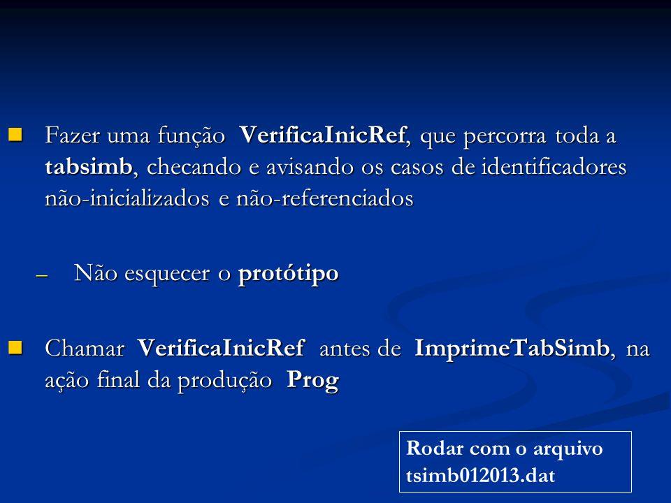 Fazer uma função VerificaInicRef, que percorra toda a tabsimb, checando e avisando os casos de identificadores não-inicializados e não-referenciados Fazer uma função VerificaInicRef, que percorra toda a tabsimb, checando e avisando os casos de identificadores não-inicializados e não-referenciados – Não esquecer o protótipo Chamar VerificaInicRef antes de ImprimeTabSimb, na ação final da produção Prog Chamar VerificaInicRef antes de ImprimeTabSimb, na ação final da produção Prog Rodar com o arquivo tsimb012013.dat