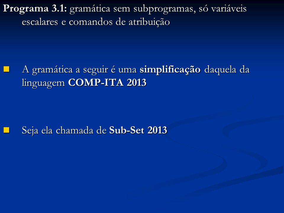 Programa 3.1: gramática sem subprogramas, só variáveis escalares e comandos de atribuição A gramática a seguir é uma simplificação daquela da linguagem COMP-ITA 2013 A gramática a seguir é uma simplificação daquela da linguagem COMP-ITA 2013 Seja ela chamada de Sub-Set 2013 Seja ela chamada de Sub-Set 2013