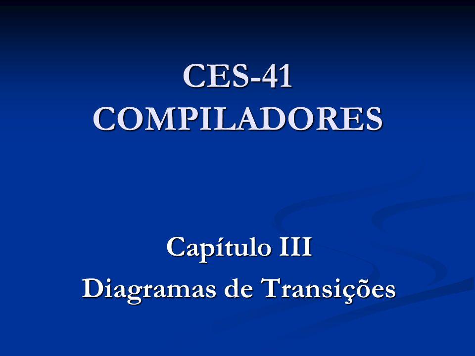 Capítulo III – Diagramas de Transições 3.1 – Considerações iniciais 3.2 – Uma linguagem ilustrativa: Mini-Pascal 3.3 – Análise léxica por diagramas de transições 3.4 – Análise sintática por diagramas de transições 3.5 – Tabela de símbolos em diagramas de transições 3.6 – Testes semânticos em diagramas de transições 3.7 – Geração de código intermediário