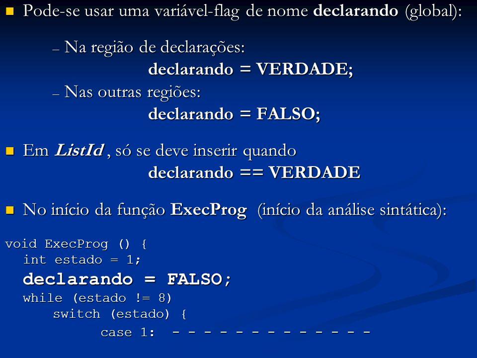 Pode-se usar uma variável-flag de nome declarando (global): Pode-se usar uma variável-flag de nome declarando (global): – Na região de declarações: de