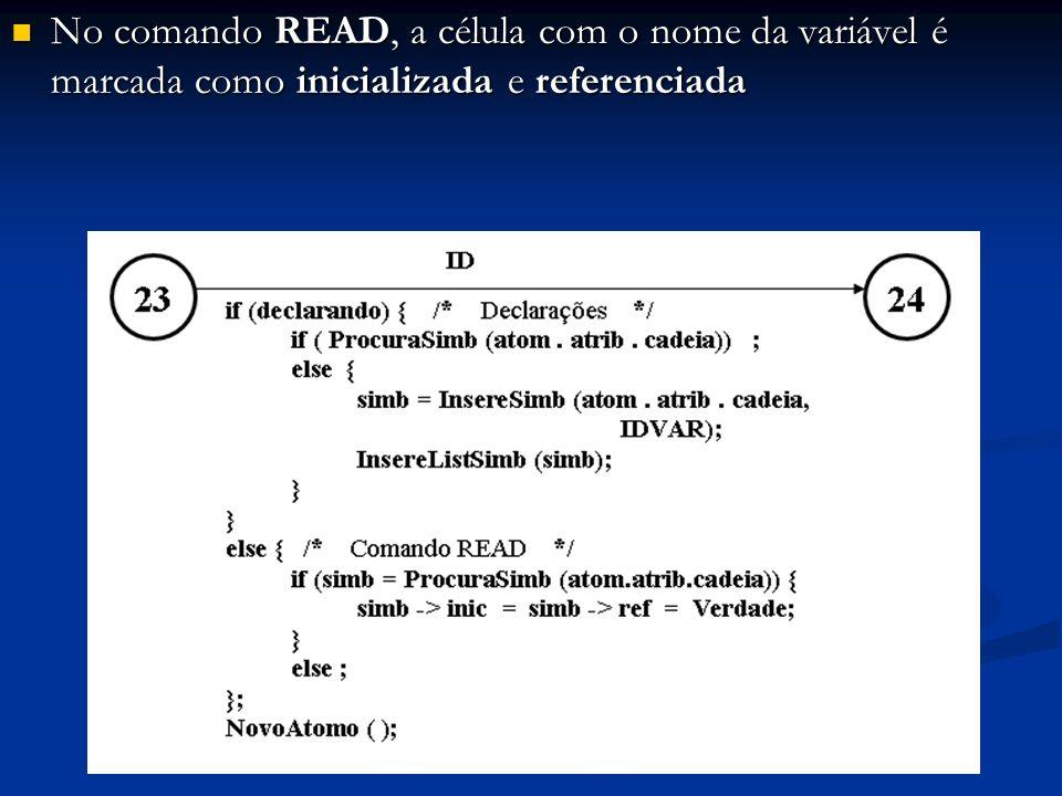 No comando READ, a célula com o nome da variável é marcada como inicializada e referenciada No comando READ, a célula com o nome da variável é marcada