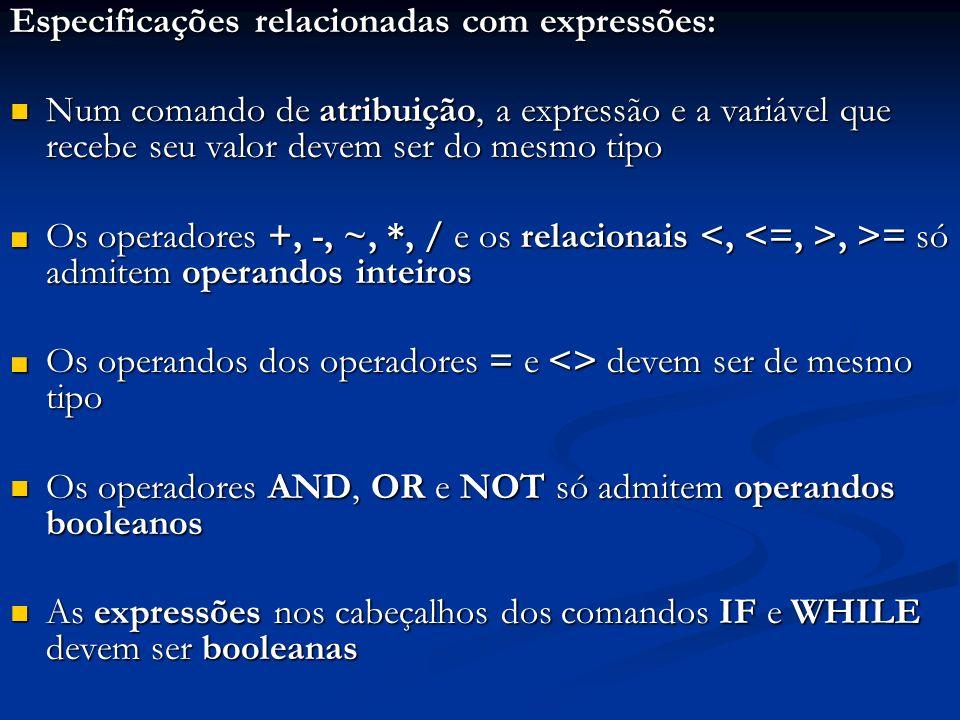 Especificações relacionadas com expressões: Num comando de atribuição, a expressão e a variável que recebe seu valor devem ser do mesmo tipo Num coman